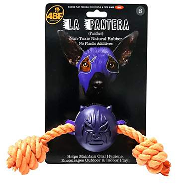 4BF Mask La Pantera (Panther) Rubber Ball with Rope Dog Toy, Small