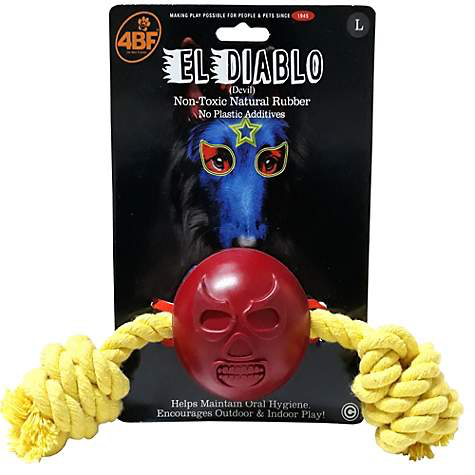 4BF El Diablo (The Devil) Rubber Ball with Rope Dog Toy, Large