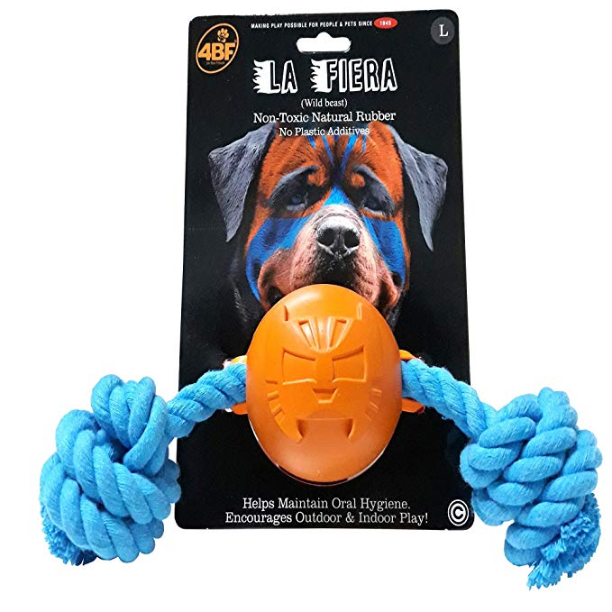 4BF Mask La Fiera (The Beast) Rubber Ball with Rope Dog Toy, Large
