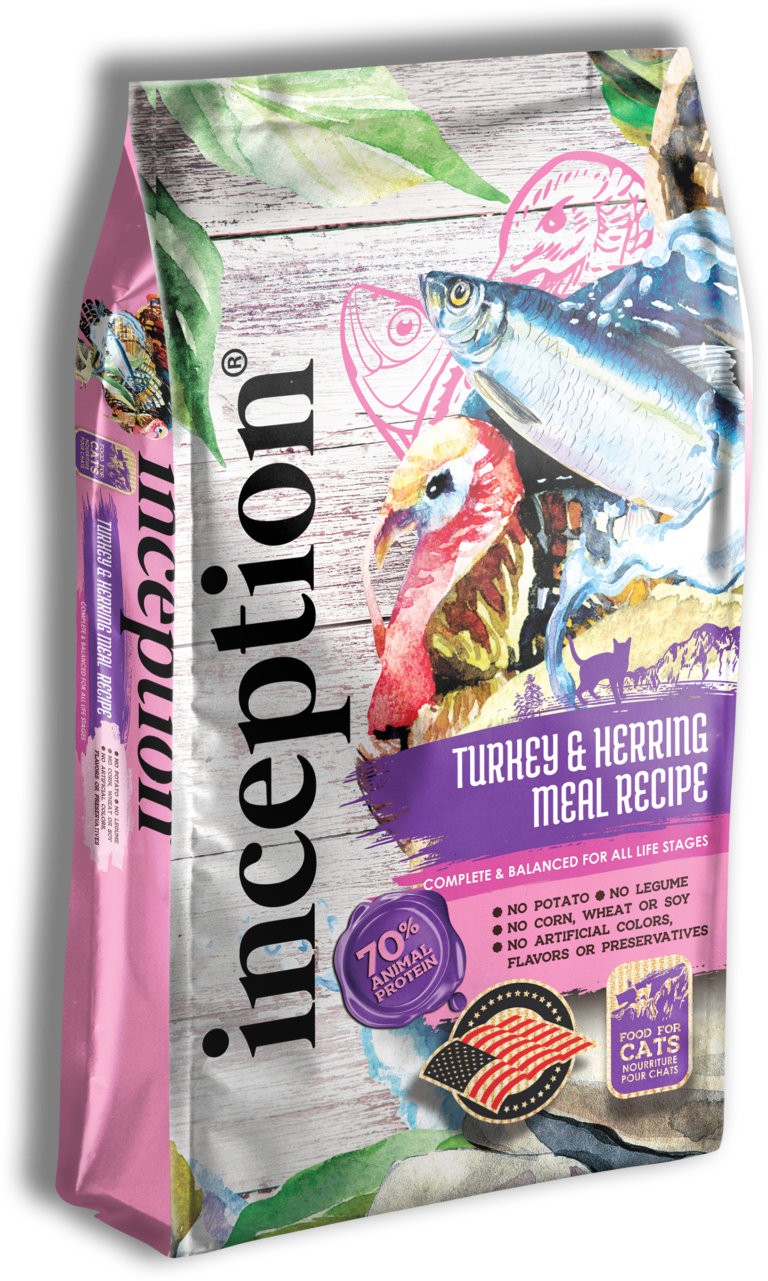 Inception Turkey & Herring Meal Recipe Dry Cat Food, 4-lb