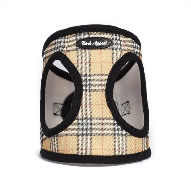 Bark Appeal EZ Wrap Mesh Step In Dog Harness, Tan Plaid, XX-Small