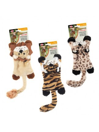 Ethical Pet Spot Skinneeez Flat Cats Jungle Cat Dog Toy, Character Varies, 11.5-in
