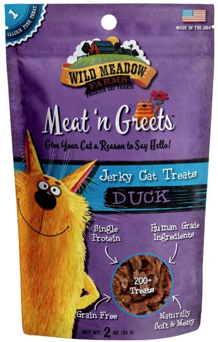 Wild Meadow Farms Meat n' Greets Duck Jerky Cat Treats, 2-oz