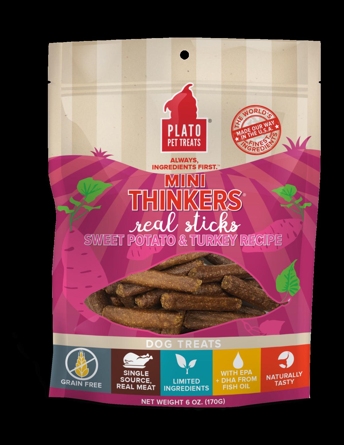 Plato Mini Thinkers Sweet Potato & Turkey Meat Stick Dog Treats, 6-oz