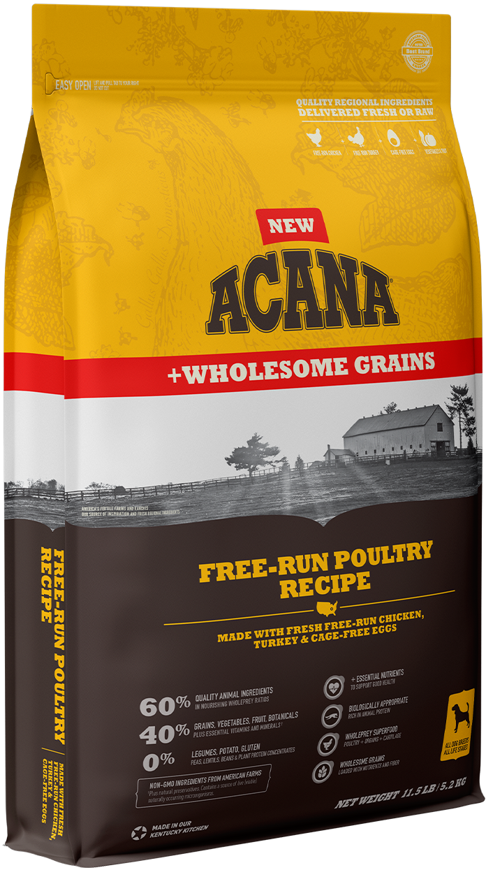 Acana Wholesome Grains Free-Run Poultry Recipe Dry Dog Food, 4-lb