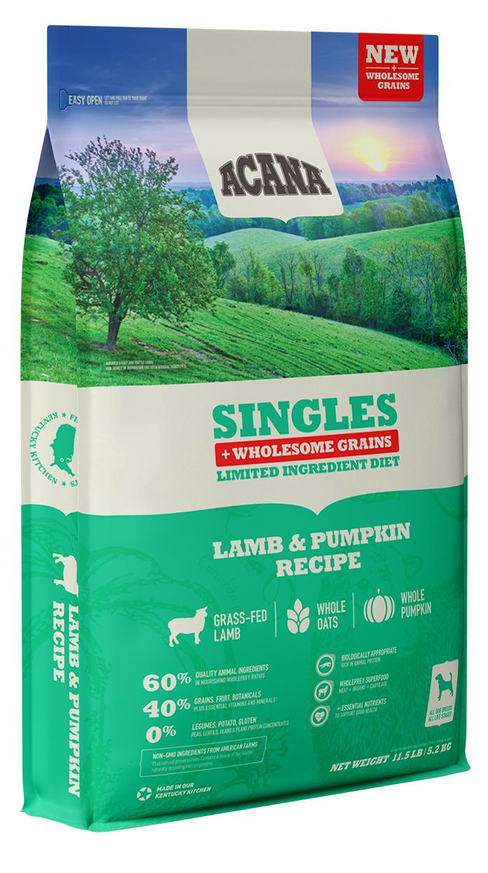 Acana Wholesome Grains Singles Lamb & Pumpkin Recipe Dry Dog Food, 4-lb
