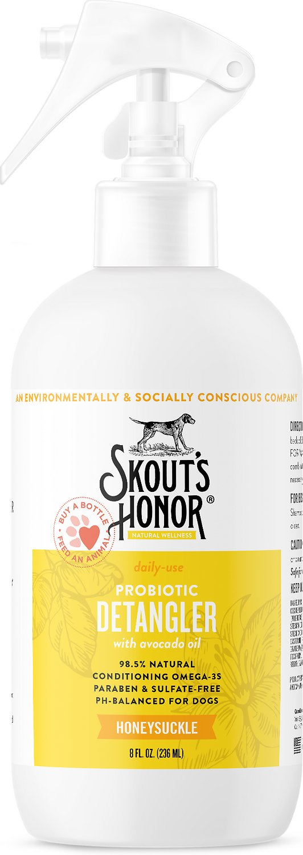 Skout's Honor Probiotic Honeysuckle Daily Use Pet Detangler, 8-oz bottle
