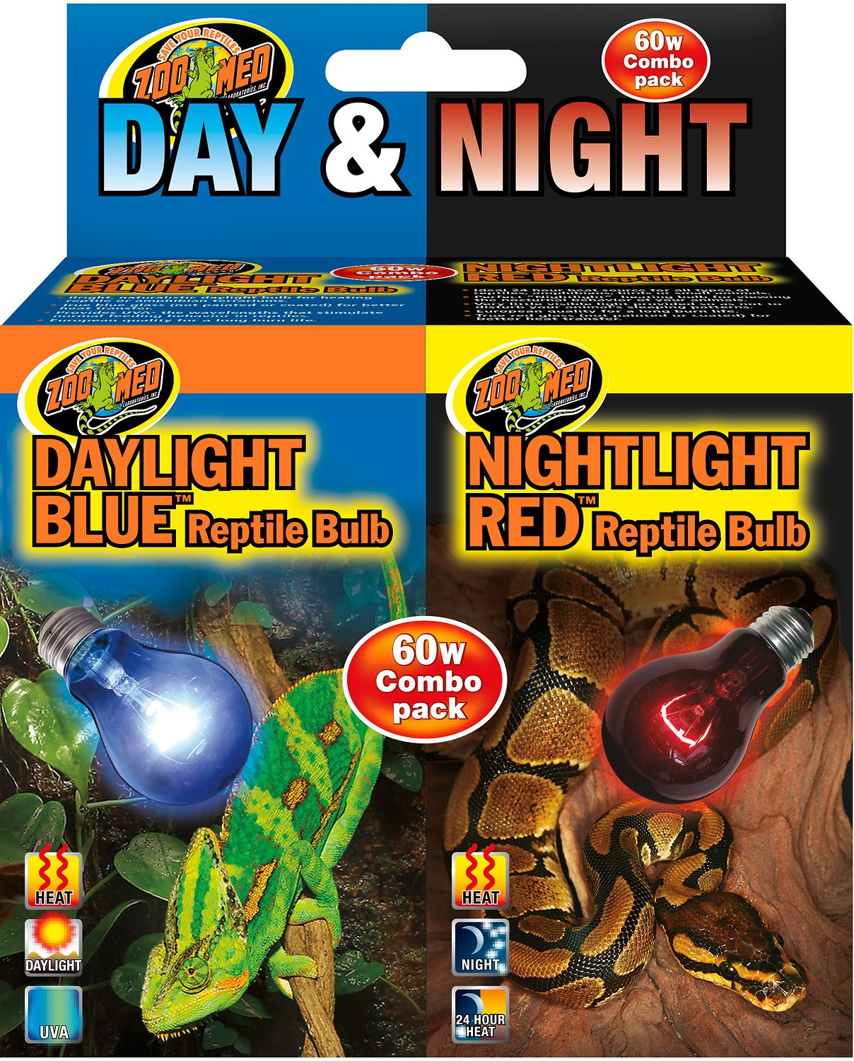 Zoo Med Daylight Blue & Nightlight Red Reptile Lamp, Combo Pack