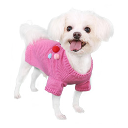 Pooch Outfitters Sweater, Dana Pink, Medium