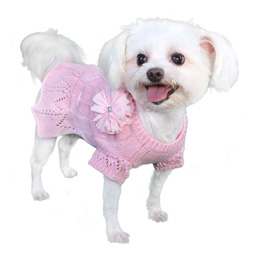 Pooch Outfitters Sweater Dress, Cassidy Pink, Medium