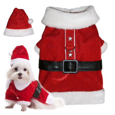 Pooch Outfitters Coat, Santa Paws, XX-Small