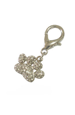 Pooch Outfitters Collar Charm, Pave Paw