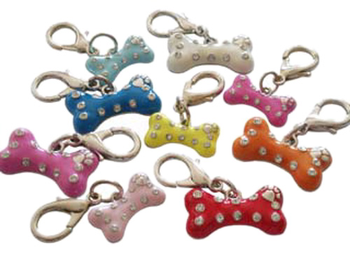 Pooch Outfitters Collar Charm, Enamel Bone Blue, Small