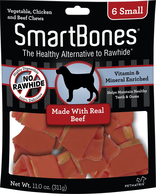 SmartBones Small Beef Chew Bones Dog Treats, 6 count