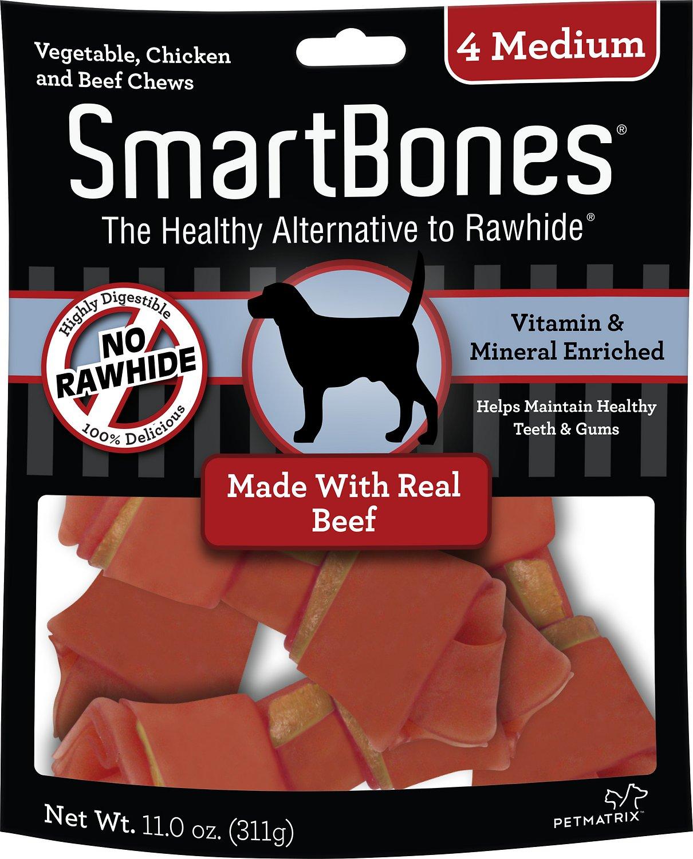 SmartBones Medium Beef Chew Bones Dog Treats, 4 count