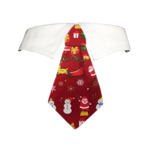 Pooch Outfitters Shirt Collar with Detachable Necktie, Santa, 3X-Large