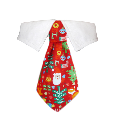 Pooch Outfitters Shirt Collar with Detachable Necktie, Navidad, XX-Small/X-Small