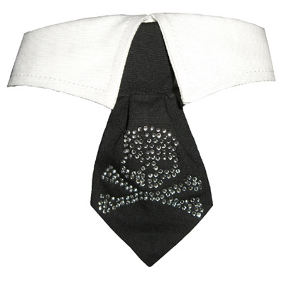 Pooch Outfitters Shirt Collar with Detachable Necktie, Crossbone Crystal, XX-Small/X-Small