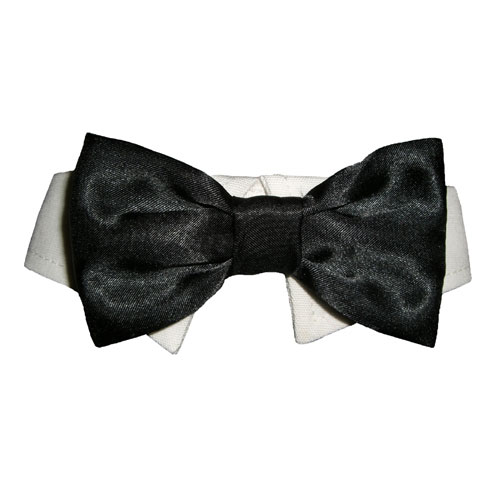 Pooch Outfitters Shirt Collar with Detachable Bow Tie, Black, Small/Medium