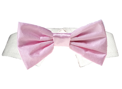 Pooch Outfitters Shirt Collar with Detachable Bow Tie, Satin Pink, XX-Small/X-Small