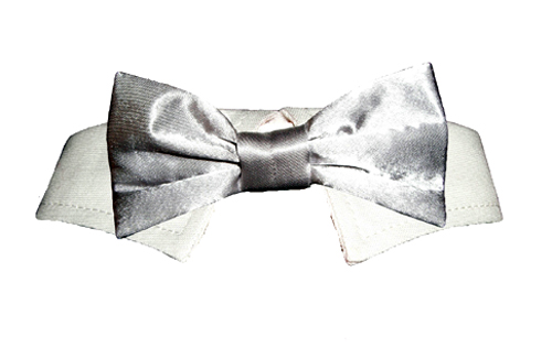 Pooch Outfitters Shirt Collar with Detachable Bow Tie, Satin Silver, XX-Small/X-Small