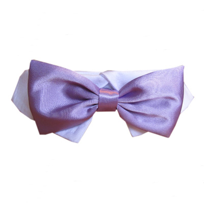 Pooch Outfitters Shirt Collar with Detachable Bow Tie, Satin Lavender, 3X-Large