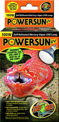 Zoo Med PowerSun UV Mercury Vapor Reptile Lamp, 100-Watt