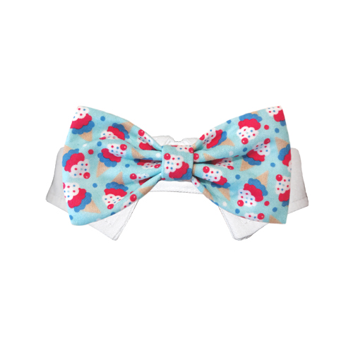 Pooch Outfitters Shirt Collar with Detachable Bow Tie, Ice Cream, XX-Small/X-Small