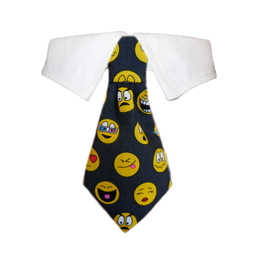 Pooch Outfitters Shirt Collar with Detachable Necktie, Smiley, XX-Small/X-Small