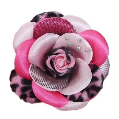 Pooch Outfitters Collar Flower, Scarlett Pink, Medium