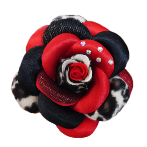 Pooch Outfitters Collar Flower, Scarlett Red, Medium