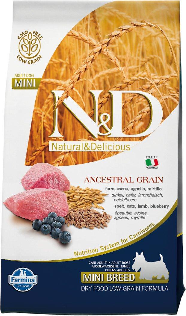 Farmina Natural & Delicious Lamb & Ancestral Low-Grain Mini Breed Adult Dry Dog Food, 15.4-lb
