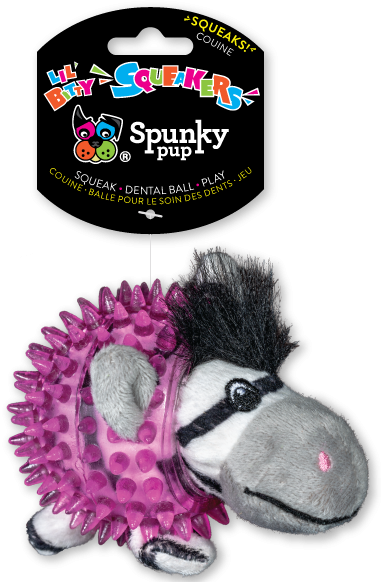 Spunky Pup Lil' Bitty Squeakers Zebra Dog Toy