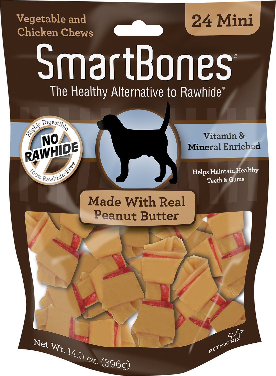 SmartBones Mini Peanut Butter Chew Bones Dog Treats, 24-pk