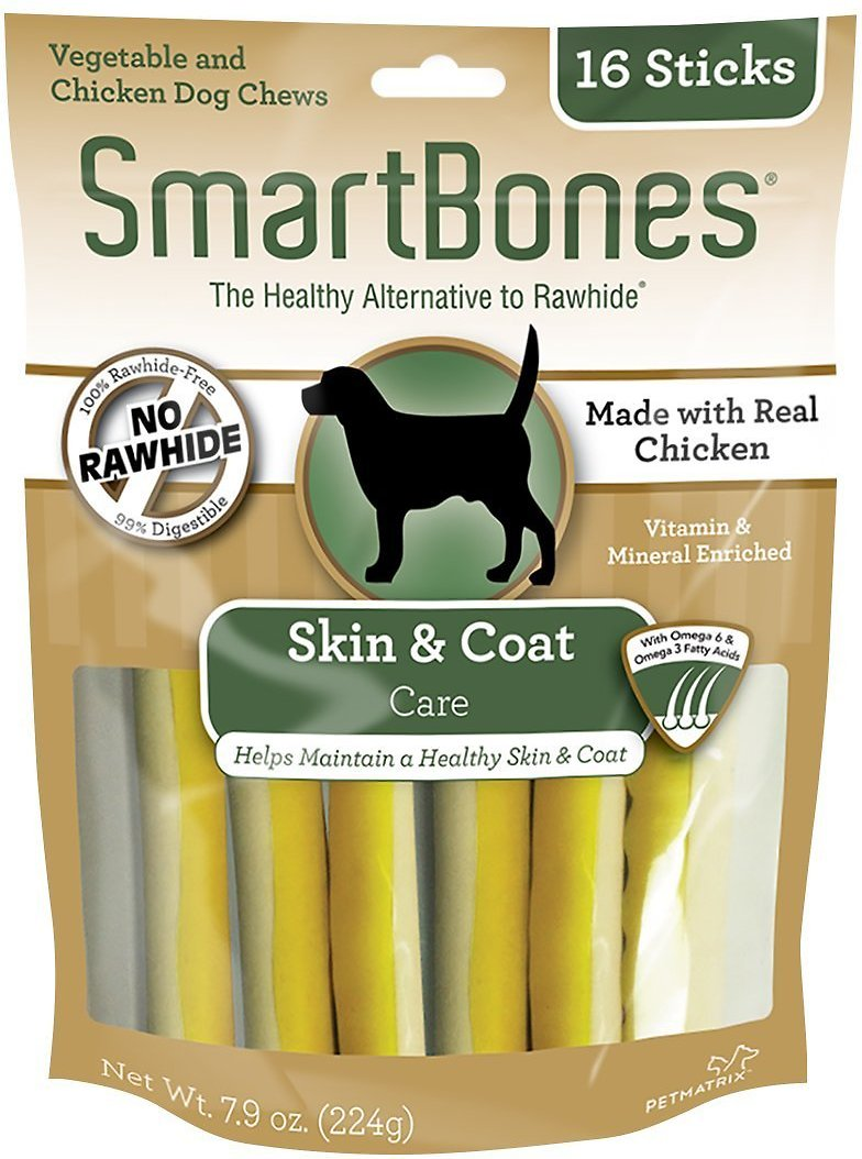 SmartBones Skin & Coat Care Chicken Chews Dog Treats, 16 pack