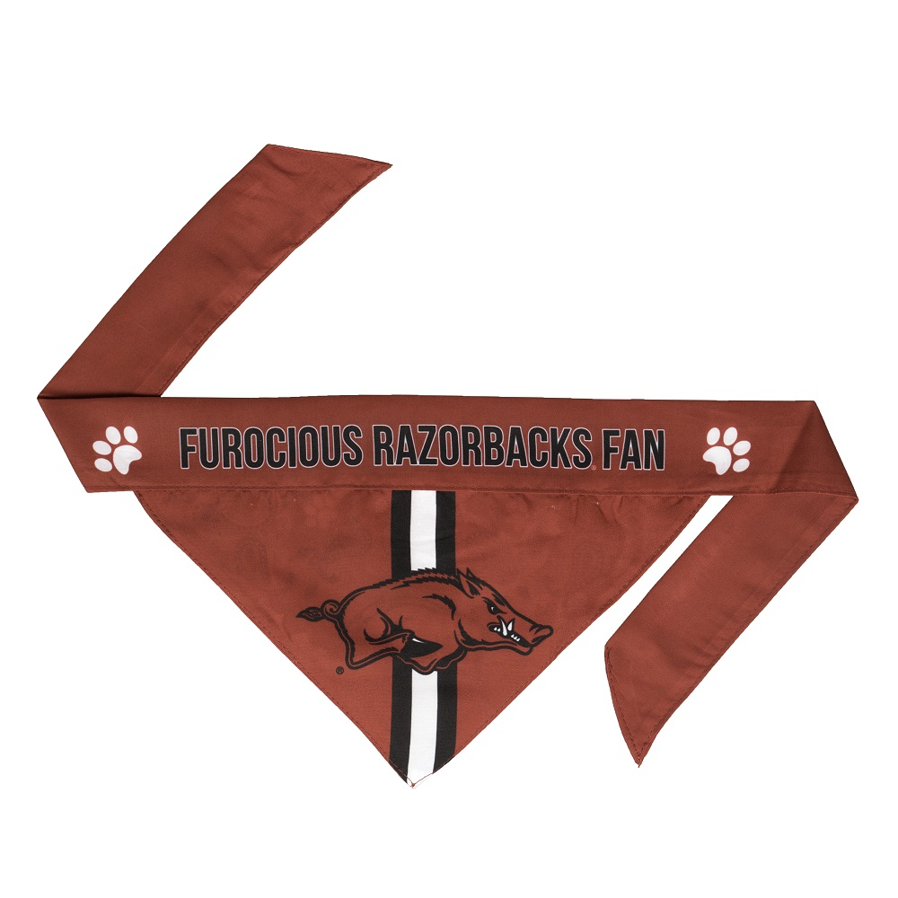Little Earth Tie-On Dog Bandana, NCAA Arkansas Razorbacks, Small