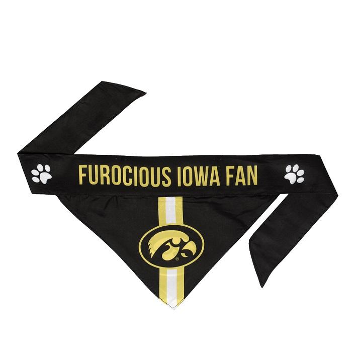 Little Earth Tie-On Dog Bandana, NCAA Iowa Hawkeyes, Small