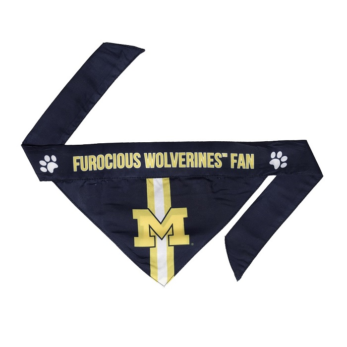 Little Earth Tie-On Dog Bandana, NCAA Michigan Wolverines, Small
