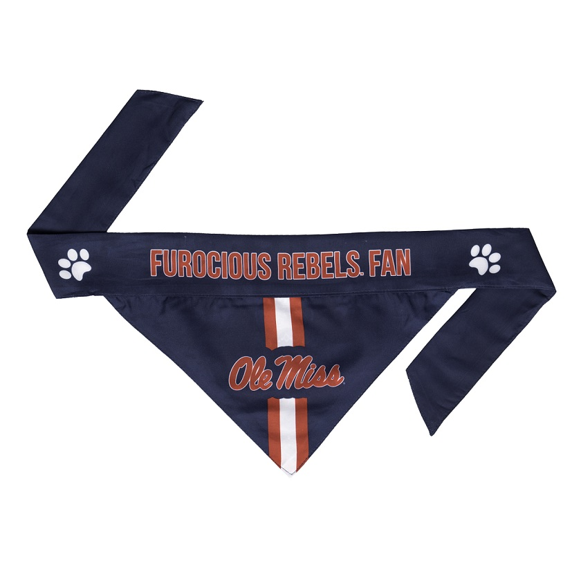 Little Earth Tie-On Dog Bandana, NCAA Mississippi Rebels, Small