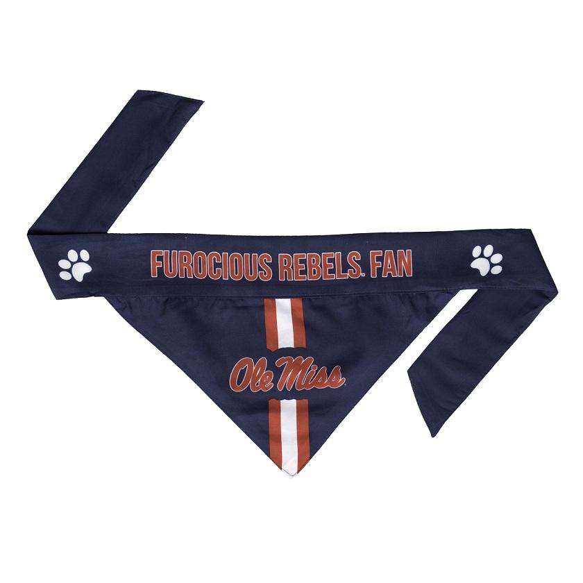 Little Earth Tie-On Dog Bandana, NCAA Mississippi Rebels, Large