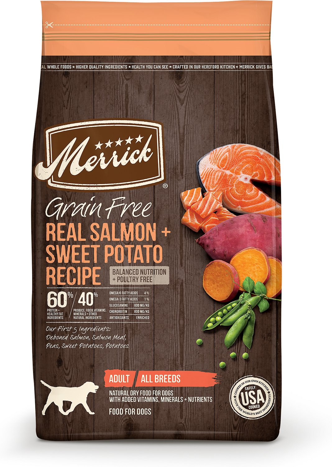 Merrick Grain-Free Real Salmon & Sweet Potato Recipe Adult Dry Dog Food, 22-lb