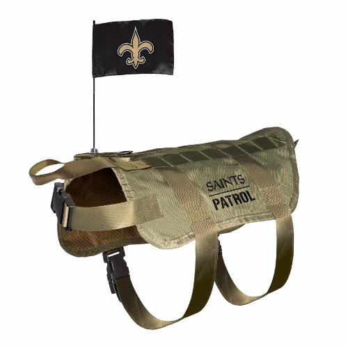 Little Earth Tactical Dog Vest, NFL New Orleans Saints, Medium/Large