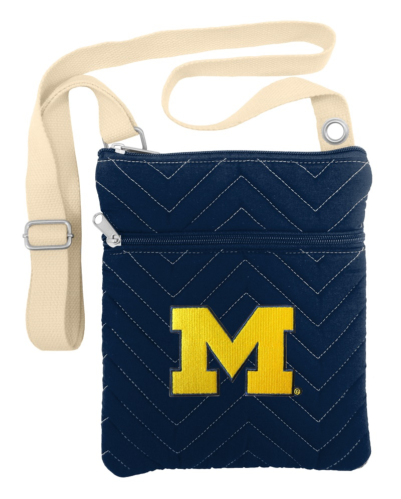 Little Earth Chevron Stitch Cross Body Purse, NCAA Michigan Wolverines
