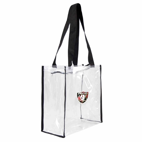 Little Earth Floral Clear Square Stadium Tote, NFL Oakland Raiders