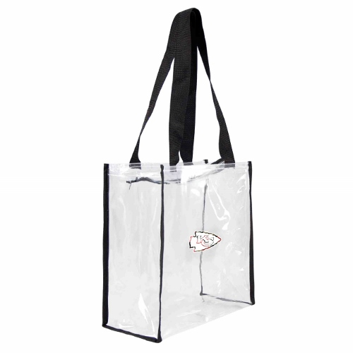 Little Earth Floral Clear Square Stadium Tote, NFL Kansas City Chiefs