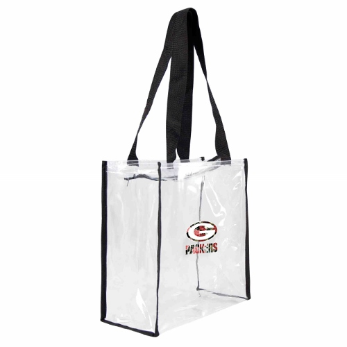 Little Earth Floral Clear Square Stadium Tote, NFL Green Bay Packers