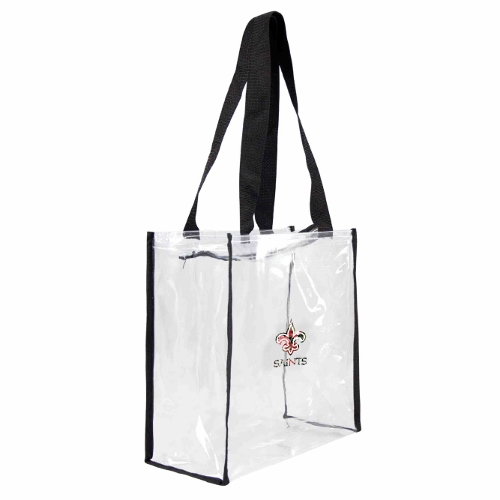 Little Earth Floral Clear Square Stadium Tote, NFL New Orleans Saints