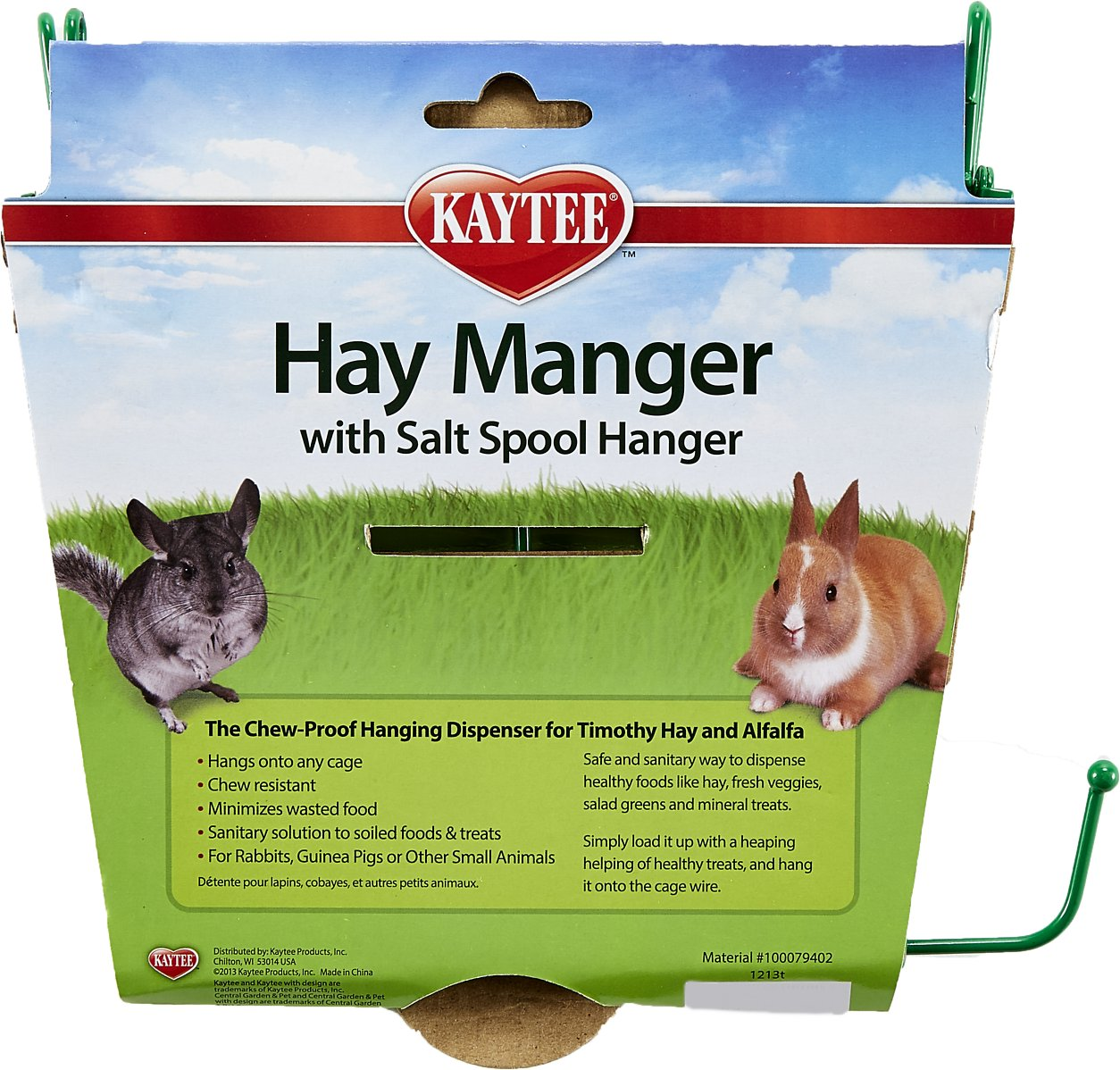 Kaytee Hay Manger & Salt Spool Hanger Small Pet Feeder