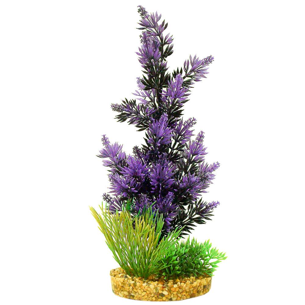 Blue Ribbon ColorBurst Florals Gravel Base with Pacifica Aquarium Plant, Black/Purple