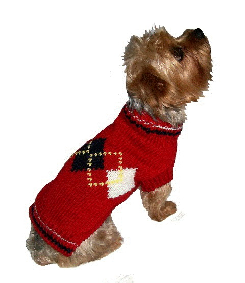 Dallas Dogs Sweater, Red Argyle, 6-in
